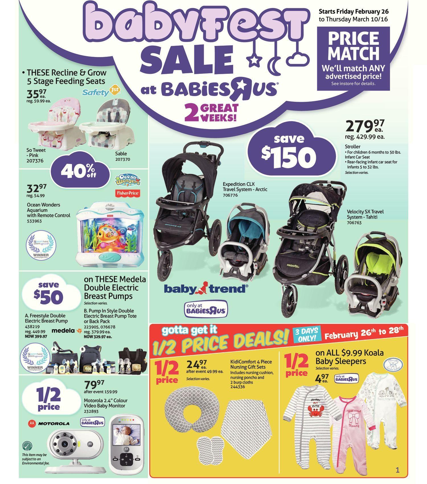 Babies R Us Weekly Flyer 2 Great Weeks Babyfest Sale Feb 26 Bright Starts Ingenuity Smartbounce Automatic Bouncer Winslow Mar 10