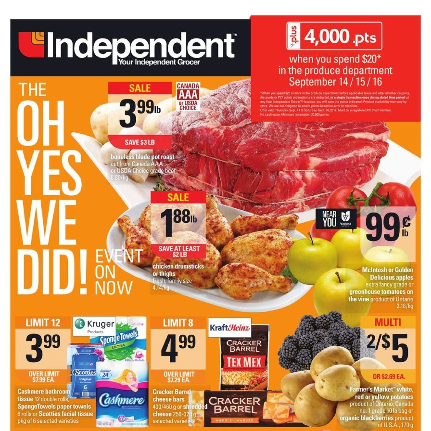 Your Independent Grocer Weekly Flyer The Oh Yes We Did Minute Maid Homestyle Orange 1l Event Sep 14 20