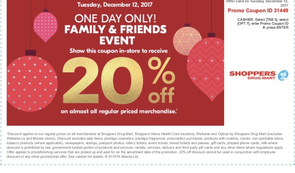 Shoppers Drug Mart Friends & Family Event 20% off Reg Priced Items