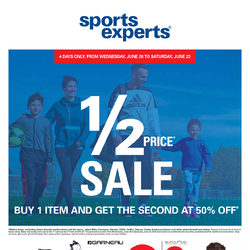 Sports Experts - 1/2 Price Sale Flyer