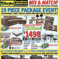 Surplus Furniture - 19 Piece Package Event! Flyer