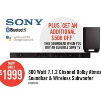Sony 800 Watt 7.1.2 Channel Dolby Atmos Soundbar & Wireless Subwoofer