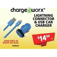 Charge Worx Lightning Connector & USB Car Charger