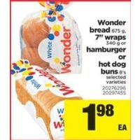 "Wonder Bread, 7"" Wraps Or Hamburger Or Hot Dog Buns"