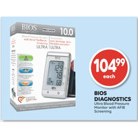Bios Diagnostics Ultra Blood Pressure Monitor With Afib Screening