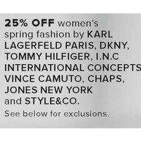 Karl Lagerfeld Paris, Dkny, Tommy Hilfiger, I.N.C International Concepts, Vince Camuto, Chaps, Jones New York And Style & Co. Women's Spring Fashion