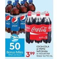 Coca-Cola Or Pepsi Soft Drinks Or Aquafina Water