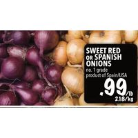 Sweet Red Or Spanish Onions