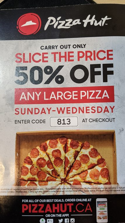 Pizza Hut Pizza Hut 50 Off Sun Wed Carry Out Large Pizza Update Read Op Redflagdeals Com Forums