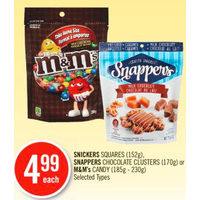 Snickers Squares, Snappers Chocolate Clusters Or M&M's Candy