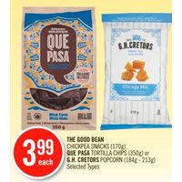 The Good Bean Chickpea Snacks, Que Pasa Tortilla Chips Or G.H. Cretors Popcorn