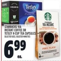Starbucks Via Instant Coffee Or Tetley K-Cup Tea Capsules