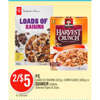 PC Loads Of Raisins, Corn Flakes Or Quaker Cereal