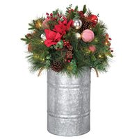 32' Floral Decor Pre-Lit Potted Artificial Christmas Tree