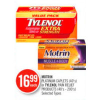 Motrin Platinum Caplets Or Tylenol Pain Relief Products