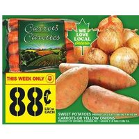 Sweet Potatoes or Carrots or Yellow Onions