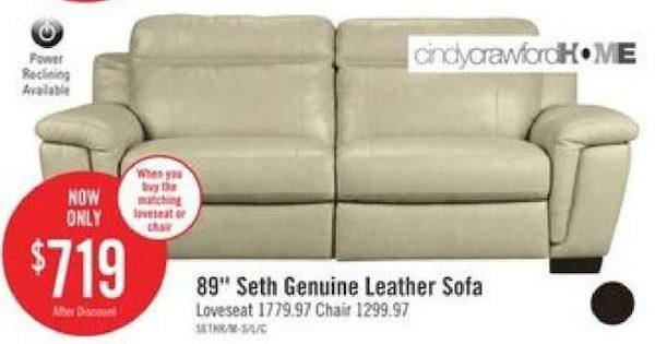 The Brick: Cindy Crawford Home Seth Genuine Leather Sofa   RedFlagDeals.com