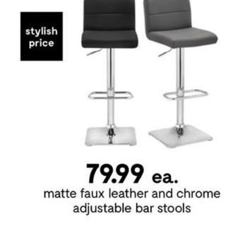 Sensational Bouclair Matte Faux Leather And Chrome Adjustable Bar Gmtry Best Dining Table And Chair Ideas Images Gmtryco