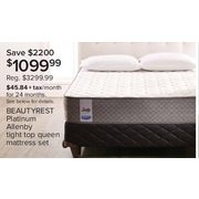 Beautyrest Platinum Allenby Tight Top Queen Mattress Set - $1099.99 ($2200.00 off)