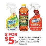 Tilex, Pine-Sol Or Clorox Cleaning Products - 2/$5.00