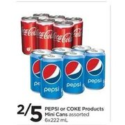 Pepsi or Coke Products Mini Cans - 2/$5.00