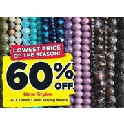 All Green Label Strung Beads - 60% off