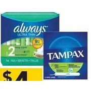 Always Pads Liners or Tampax Tampons - $4.00