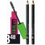 Maybelline Great Lash Mascara, Color Show Khol Eyeliner, Expert Wear Mono Eyeshadow or Baby Lips Balm - $3.48