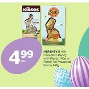 Hershey's Milk Chocolate Bunny With Kisses Or Reese Foil Wrapped Bunny - $4.99