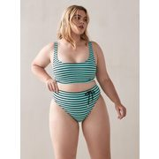 High Waist Striped Swim Brief With Tie - Addition Elle - $17.49 ($17.50 Off)