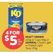 Kraft Diner Or Cups Or Admiral Chunk Light Or Flaked Light Tuna  - 4/$5.00