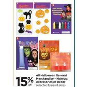All Halloween General Merchandise - Makeup, Accessories Or Decor - 15% off